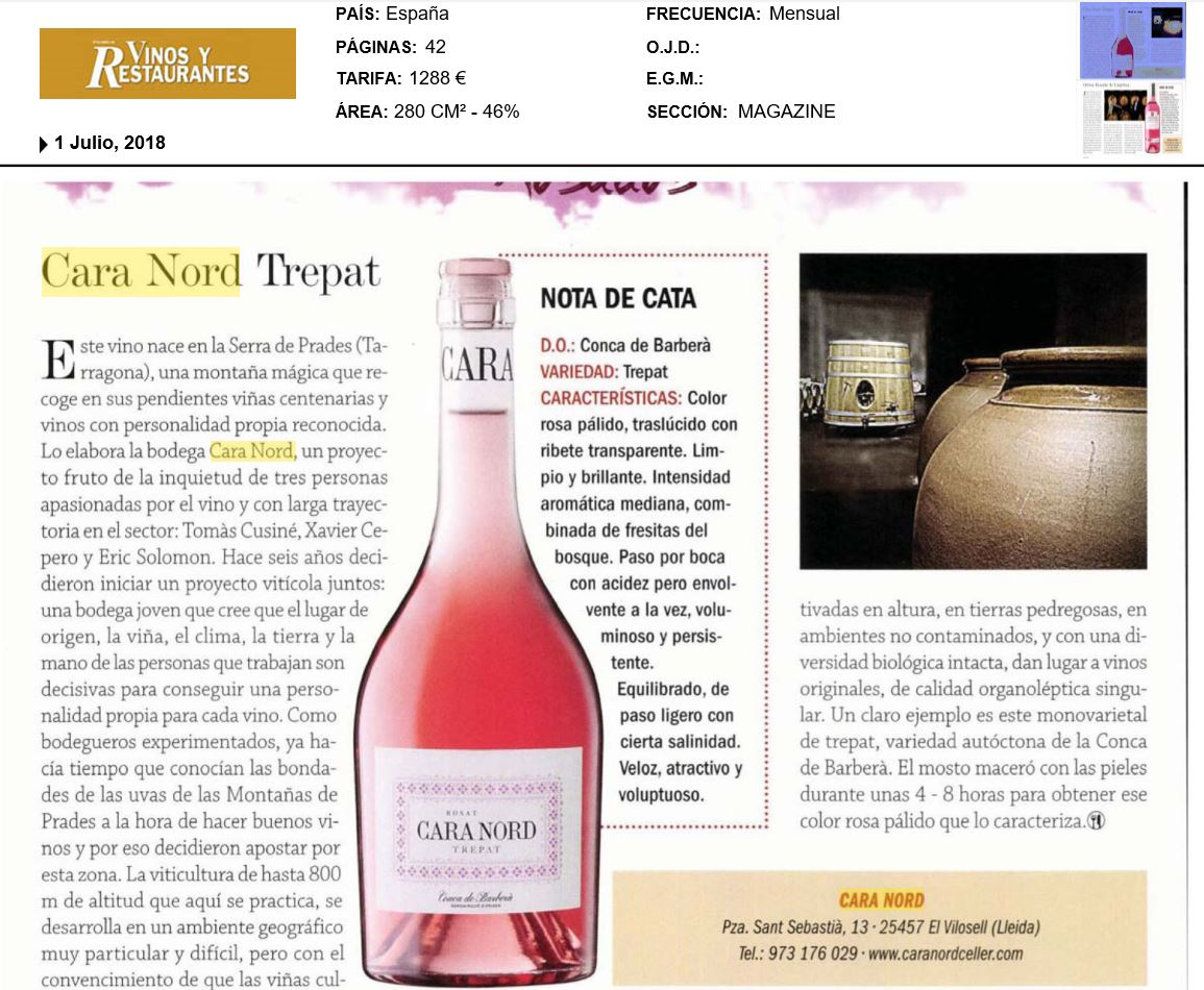 Cara Nord trepat rosat Vinos y Restaurantes
